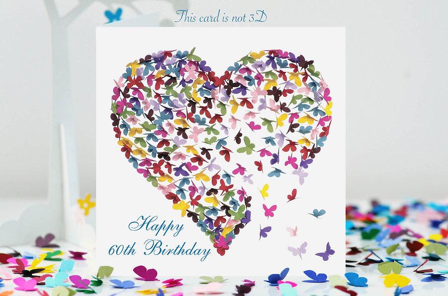 60th Birthday Heart Card