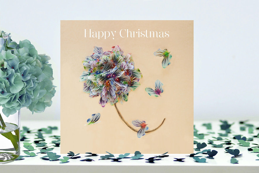 Christmas Flower Butterfly Card