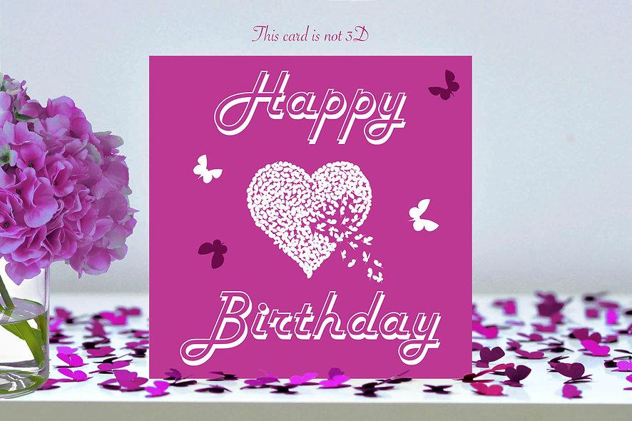 Happy Birthday Butterfly Heart Card