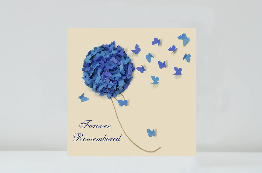 Blue Hydrangea Forever Remembered Card, Butterfly Memorial Card