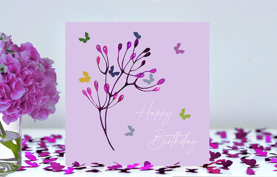Butterfly Stem Happy Birthday Card - lilac background