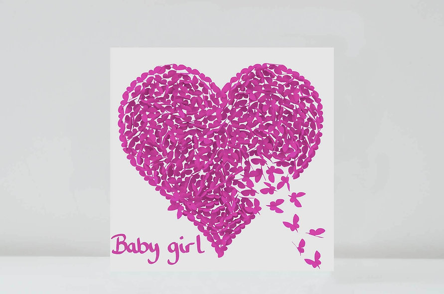 Butterfly Baby Girl Card, Baby Girl Congratulations Card