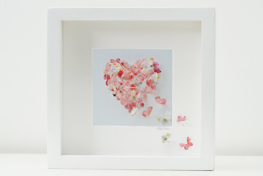 Cherry Blossom Butterfly Heart Artwork