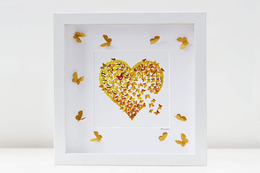 Framed Golden Wedding  Anniversary Heart Print with 3D butterflies on mount