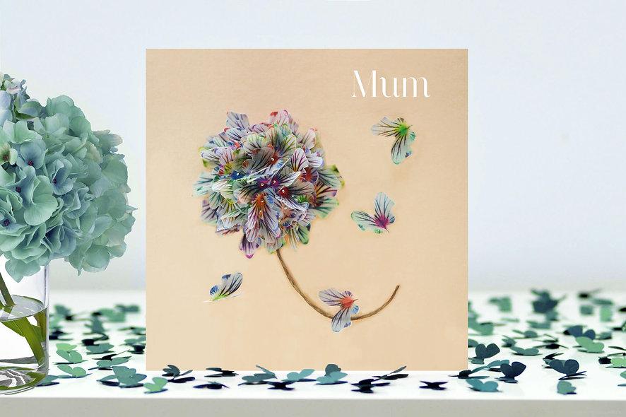 Mum Flower Butterfly Card
