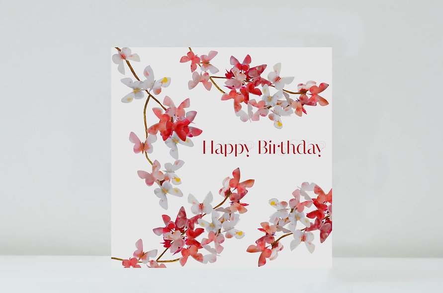 Cherry Blossom Butterfly Birthday Card