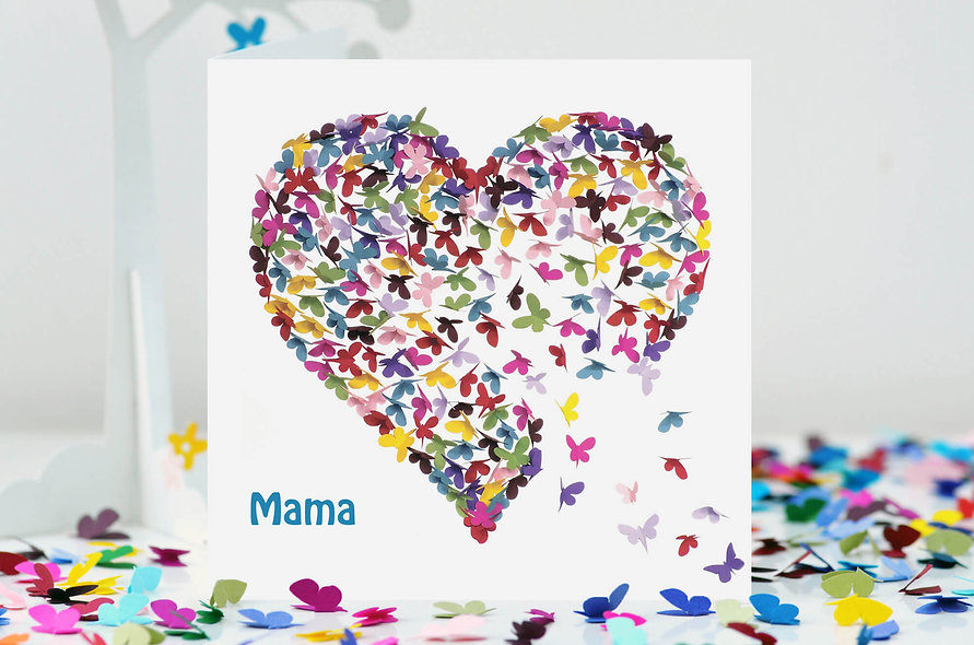Mama Kaleidoscope Butterfly Heart Card