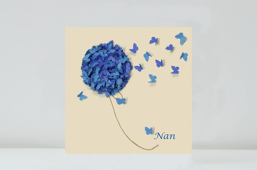 Blue Hydrangea Flower Card