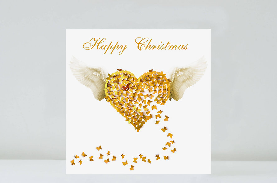 Butterfly Gold Angel Christmas Card