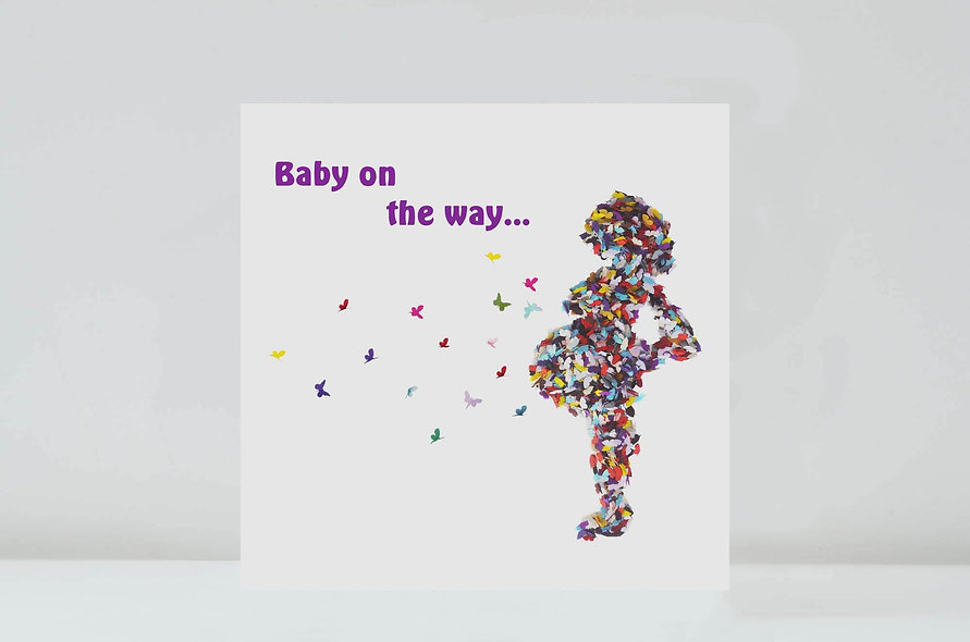 Butterfly Pregnancy Congratulations Card,  Baby on the way/ Mum To be
