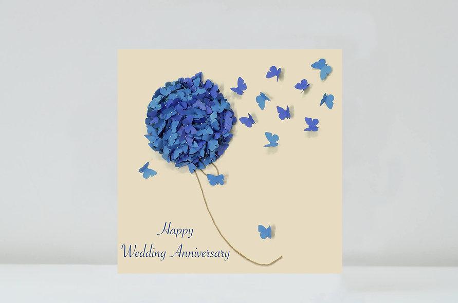 Butterfly Blue Hydrangea Wedding Anniversary Card