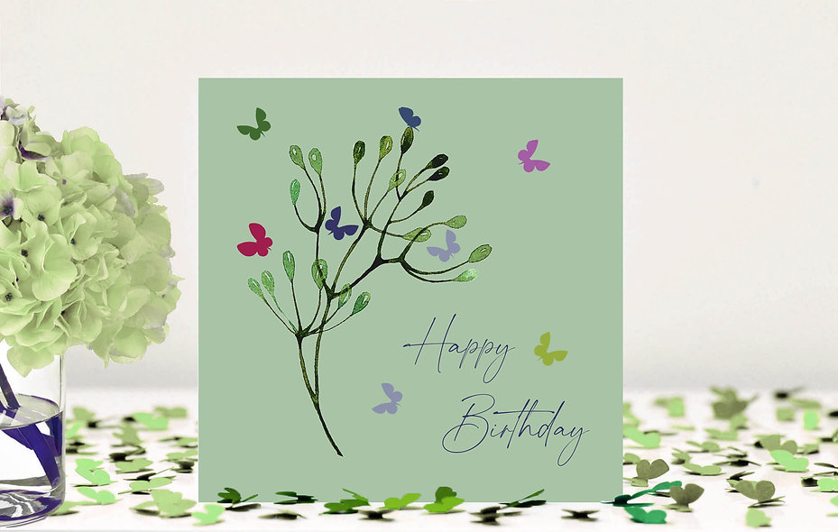 Butterfly Stem Happy Birthday Card - mint green background