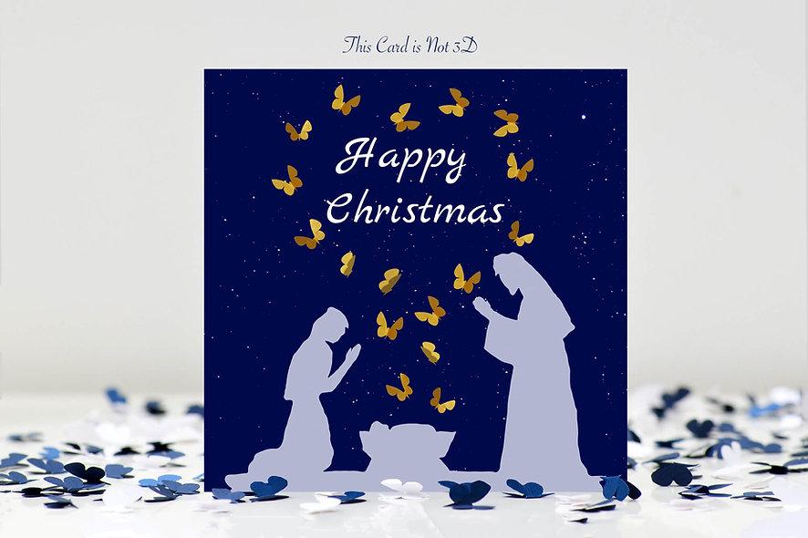 Christmas Nativity Butterfly Card