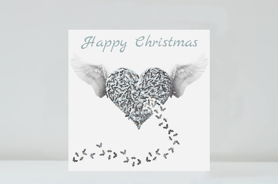 Angel Christmas Card, Silver Angel Love Card