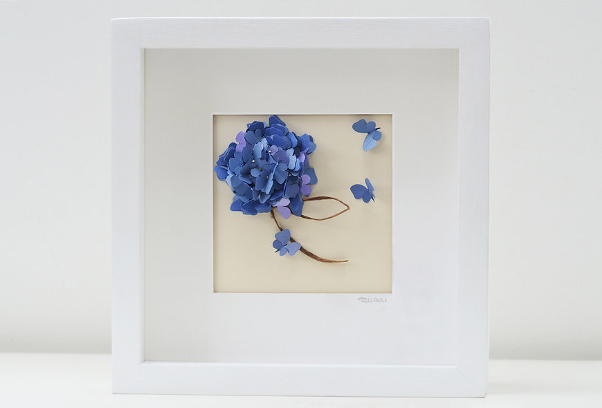 Blue Hydrangea Butterfly Artwork