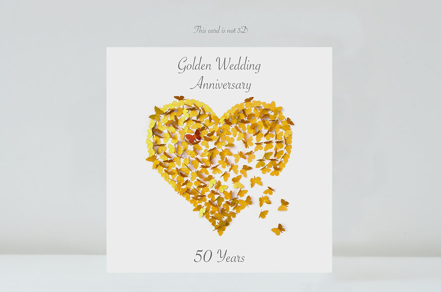 50 Years Butterfly Golden Wedding Anniversary Card