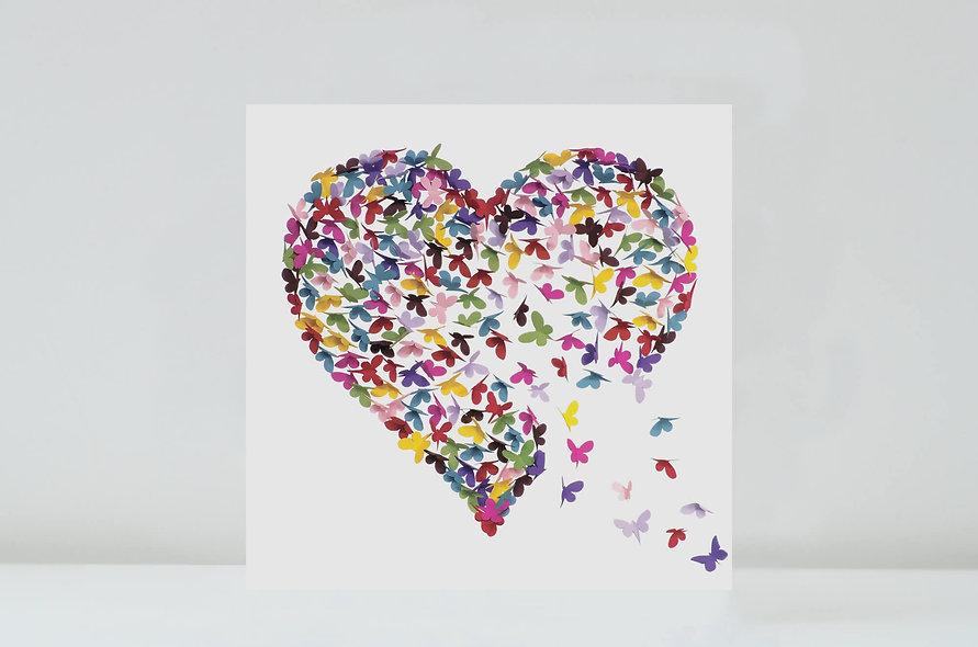 Kaleidoscope Butterfly Heart Card, Multicoloured Butterfly Card