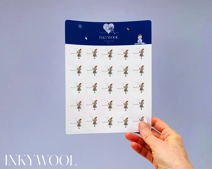 Sheet of Butterfly Kisses Christmas Stickers x25