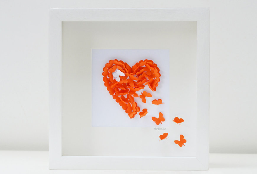 Framed Orange Butterfly Heart with White Accent Butterfly