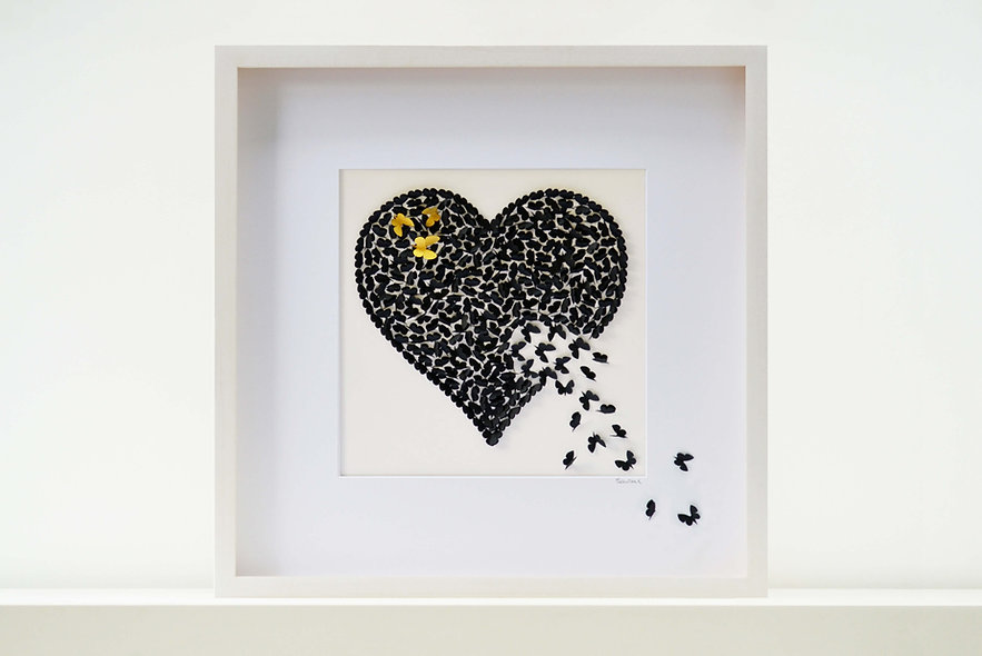 Black Accent Heart Butterfly Heart Picture 50x50cm