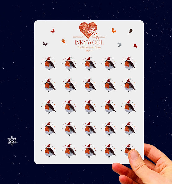 Sheet of Christmas Robin Stickers x25