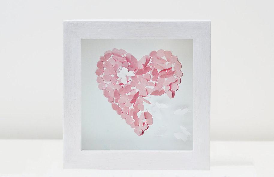 Framed Pink Heart Butterfly Print with 3D Butterflies