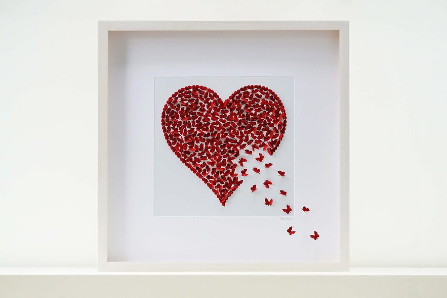 Ruby Red Butterfly Heart Picture (50x50cm)