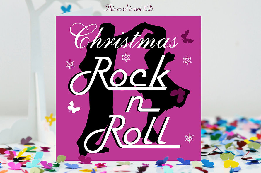 Christmas Rock N Roll Butterfly Card