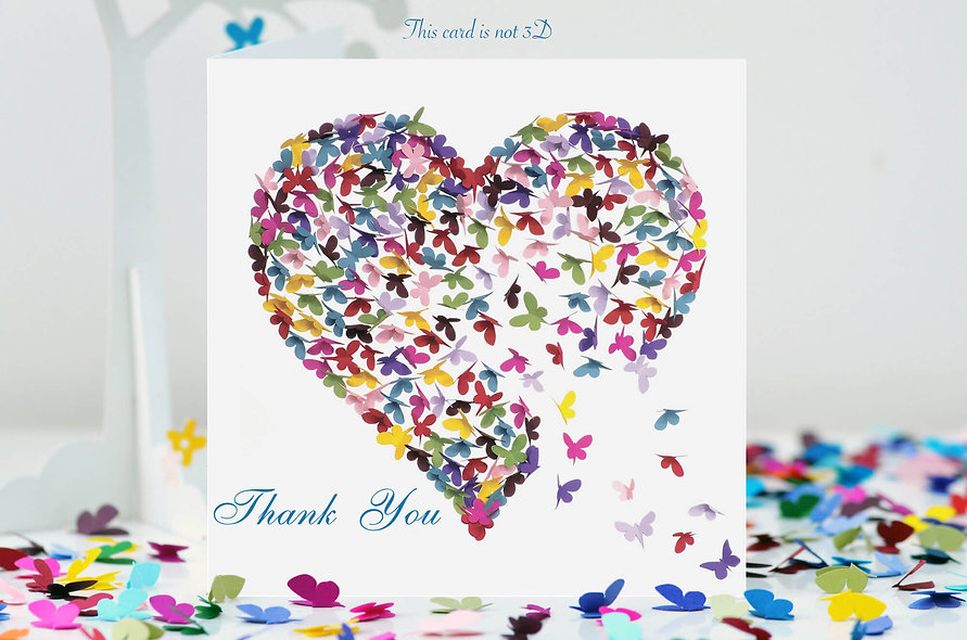 Thank You Multicoloured Butterfly Heart Card