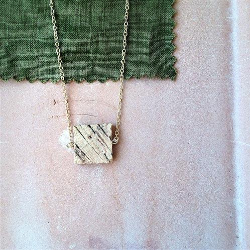 Collier géométrique carré lègers en liège