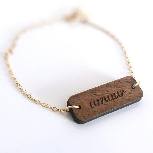 Bracelet message personnalisé en bois gravé