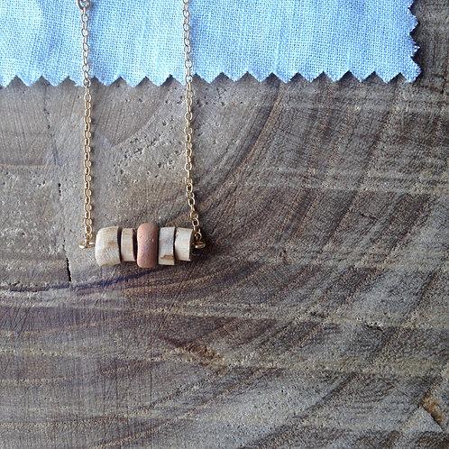 bracelet argile et bois brut