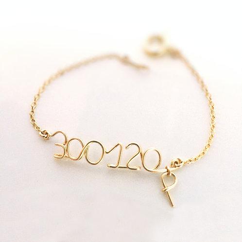Cadeau de naissance, bracelet date