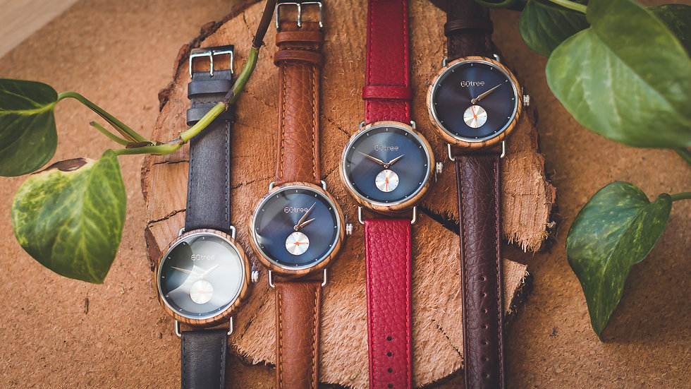 60tree Holzuhr Everest mit Echtleder-Armband