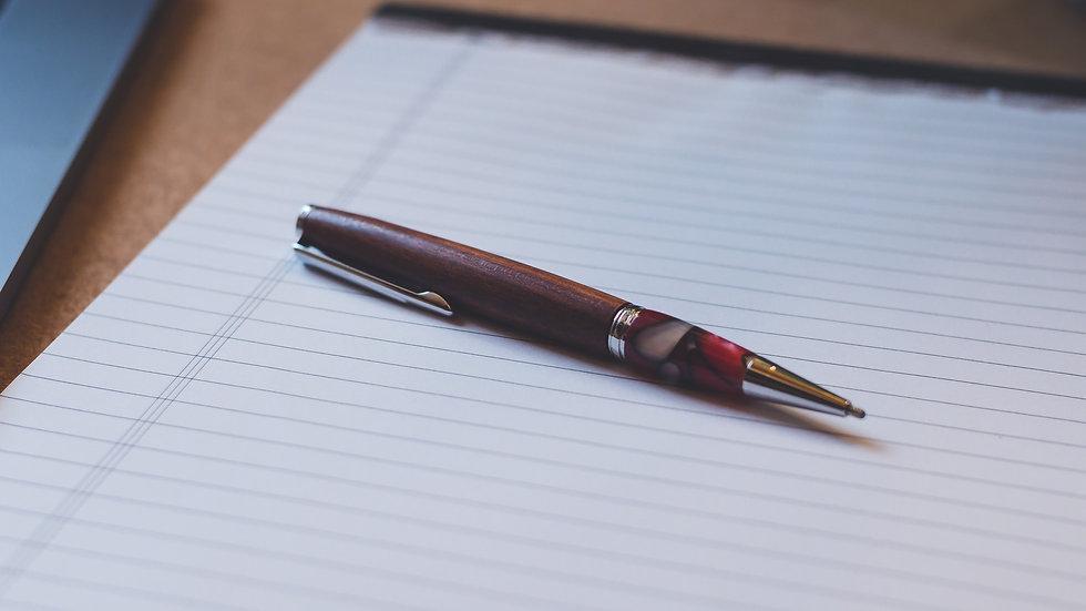 Kugelschreiber Elegant Chrom rot/weiß