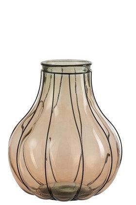 Vase Fusion Verre/Metal Taupe Medium