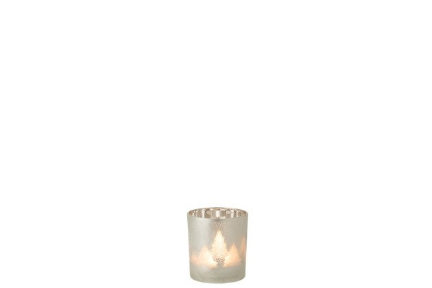 Photophore Sapin Verre Gris Clair/Argent Small