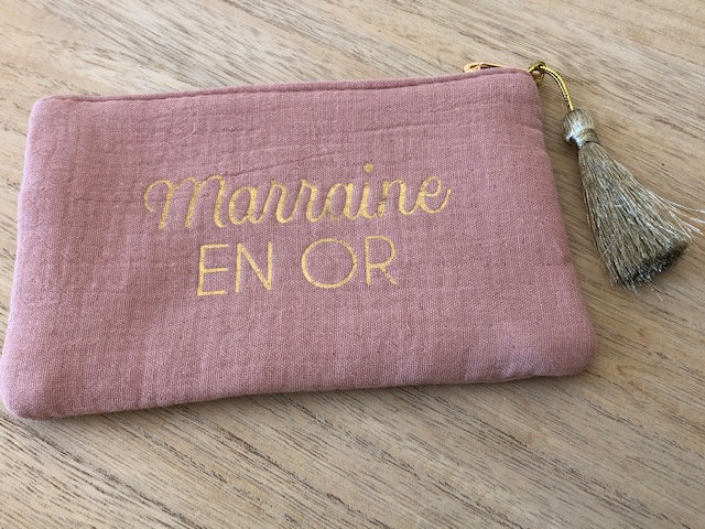 "Pochette "" ma marraine en or """