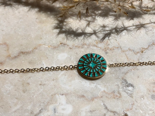 Bracelet rosace bleu turquoise