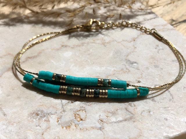Bracelet double chaine turquoise