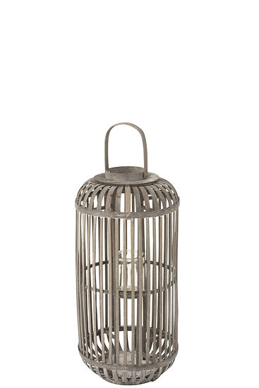 Lanterne Cylindre Bois Gris Small