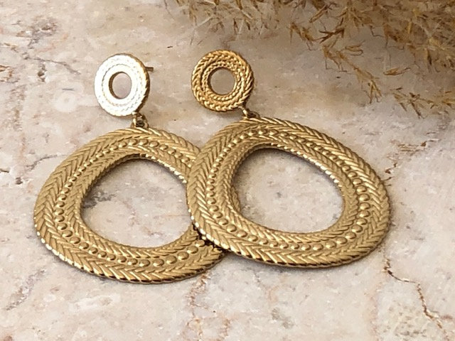 Boucles d'oreilles anneaux torsadés