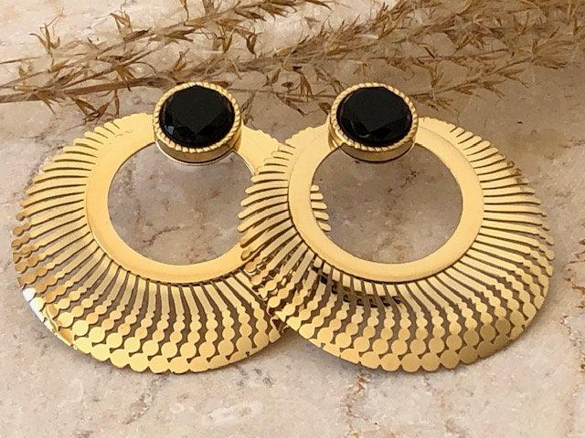 Boucles d'oreilles ornées d'une pierre naturelle en Onyx