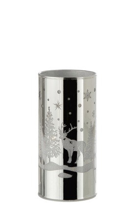 Cylindre Decoratif Led Verre Hiver Argent Medium