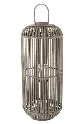Lanterne Cylindre Bois Gris Large