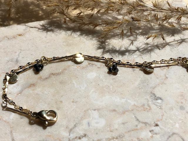 Bracelet double chaine perles noires