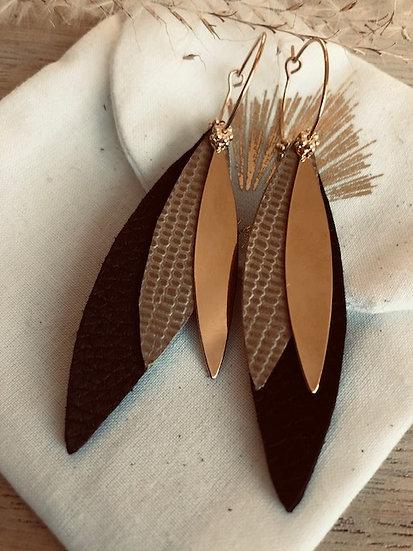 Créoles  cuir noires