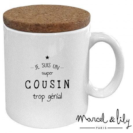 """Mug avec son couvercle en liège """"Je suis un Cousin trop génial"""""""