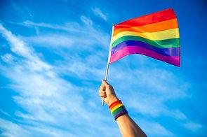 Colorful backlit rainbow gay pride flag
