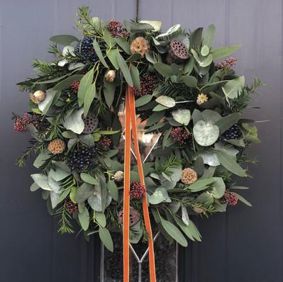 """12"""" Wreath (Copper ribbon) - £45"""